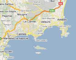 image map Baie de Cannes, Antibes